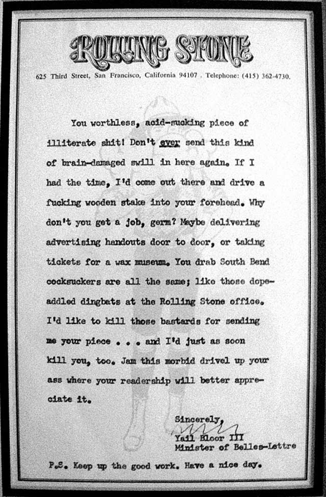 When Hunter S. Thompson Penned Rolling Stone's Rejection Letters