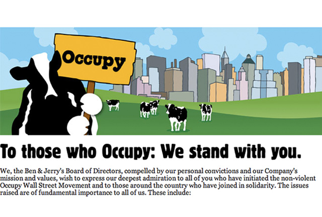 Ben And Jerry's Lend Delicious Support To Occupy Wall Street