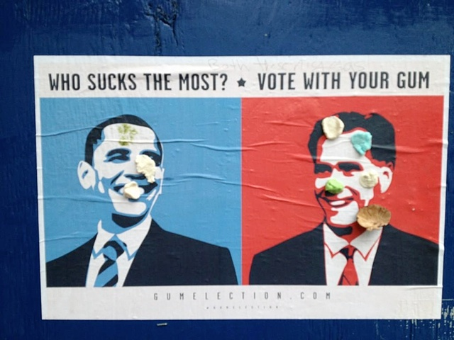 Vote With Gum: New Posters Let You Unload Your Gum Politically