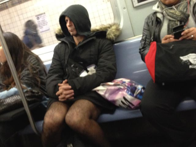NSFW Photo: L Train Pervert Shows Junk While Wearing Crotchless Nylons