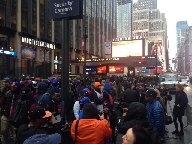Small Group Of Knicks Fans Protest Crimes Against The Humanity Of Knicks Fans