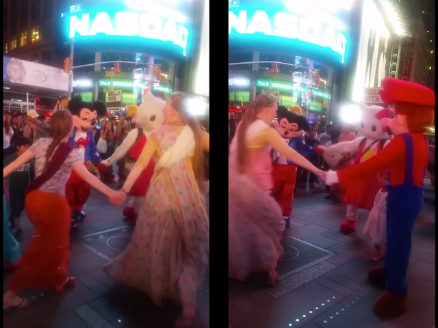 Video: Hare Krishnas & Times Square Costumed Characters Frolic Together