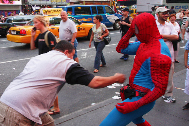 Batman & Spider-Man Arrested For Fighting Hecklers In Times Square