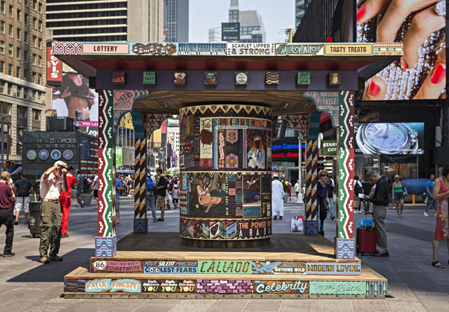 FAILE's Hand-Carved, 7-Foot Tall Prayer Wheel Is In Times Square