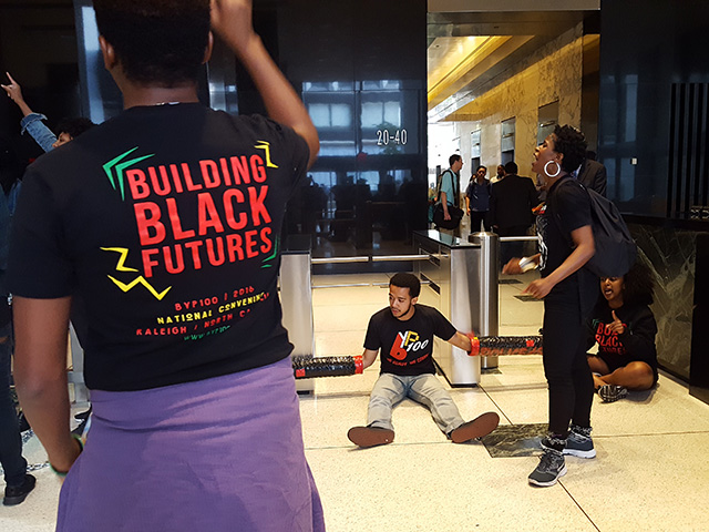 'No Justice, No Peace!' Activists Chain Themselves In Police Union's FiDi Office Building
