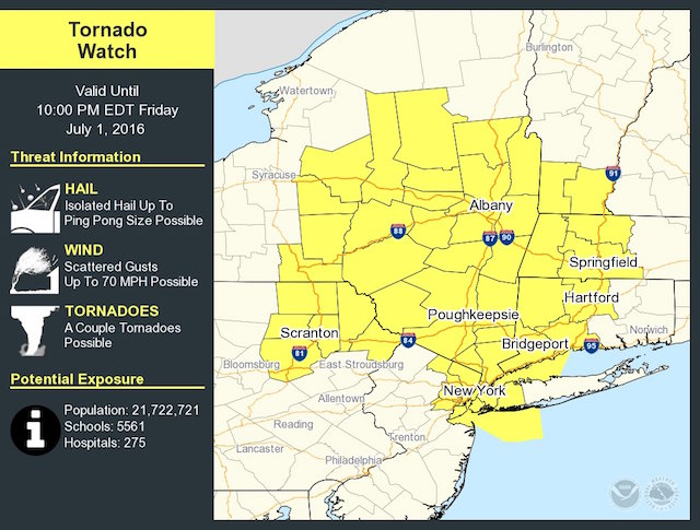 Tornado Watch Issued For NYC & Surrounding Areas