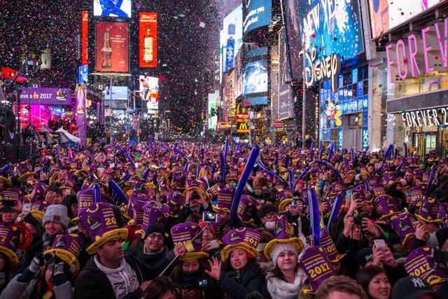 Photos: Times Square Rings In New Year With Huge Crowds, Massive NYPD Presence
