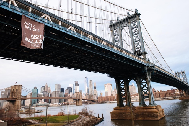 Photo: 'Build Bridges, Not Walls' Banner Hung From Manhattan Bridge