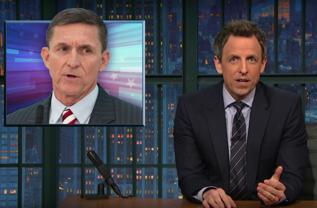 Video: Seth Meyers & Stephen Colbert Roast Stephen Miller & Michael Flynn