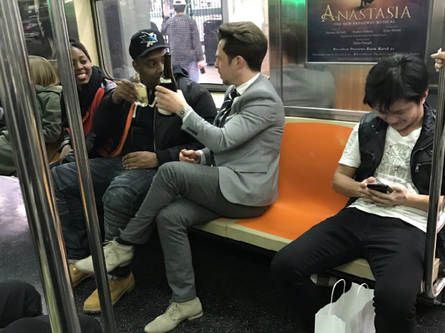 Why We Love NYC: Strangers Find & Share Bottle Of Wine On Subway