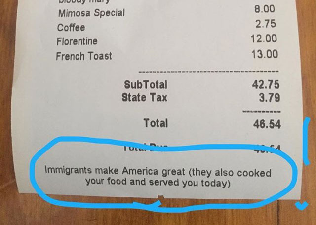 Park Slope Restaurant Kiwiana's Receipt Now Comes With Pro-Immigration Message