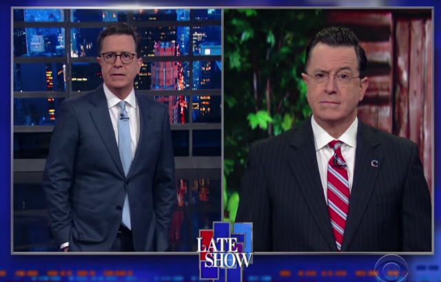 Video: Stephen Colbert Brings Back 'Stephen Colbert' To Defend Trump's Budget