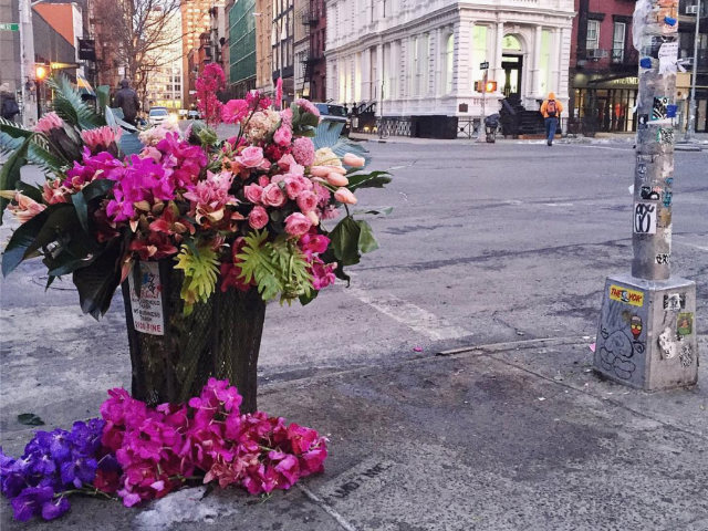 A Floral Designer Is Turning NYC Garbage Cans Into Giant Vases