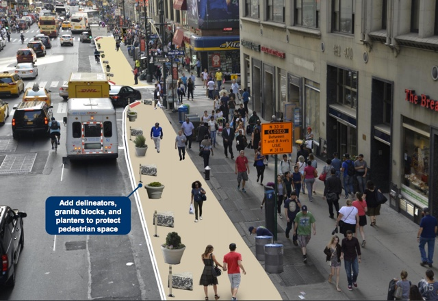 DOT Plans To Widen 7th Avenue Sidewalks Between Penn Station & Times Square