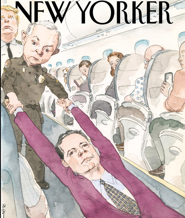 The New Yorker Cover Imagines Comey's Firing As United's Passenger Dragging
