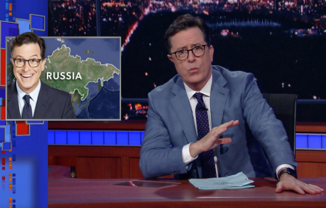 Video: Stephen Colbert Says Russian Intelligence Followed Him All Over Russia