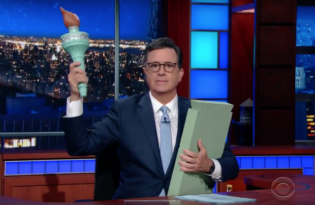 Video: Stephen Colbert Writes New Statue Of Liberty Poem For Trump Administration