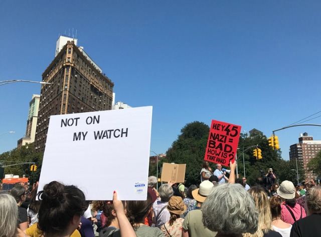 Hundreds Gather In Grand Army Plaza To Condemn White Supremacy, President Trump