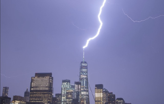 Watch Lightning Spectacularly Strike One WTC Tower During Last Night's Storm