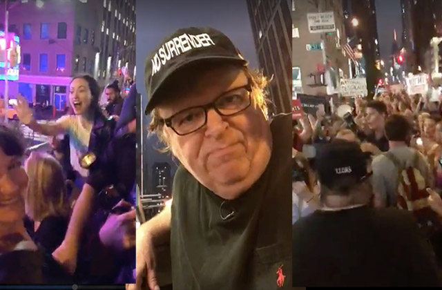Watch Michael Moore Lead Broadway Theatergoers On Double-Decker Buses To Protest Outside Trump Tower