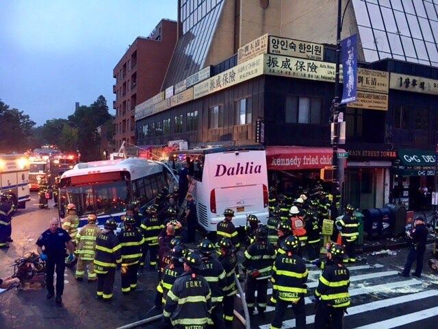 Updates: Video Shows Tour Bus Slamming Into MTA Bus In Fatal Queens Crash