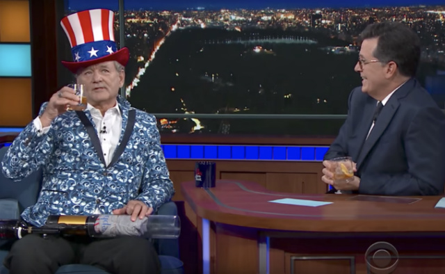 Video: Bill Murray Throws A 'West Side Story' & T-Shirt Cannon Party On Colbert