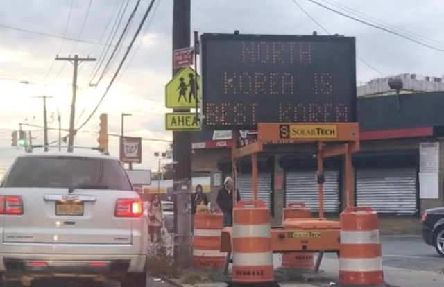 Hacked Queens Road Sign Weighs In On Which Korea Is Best