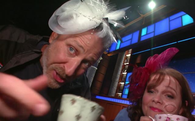 Video: Things Get Silly When Jon Stewart Hangs Out Under Stephen Colbert's Desk