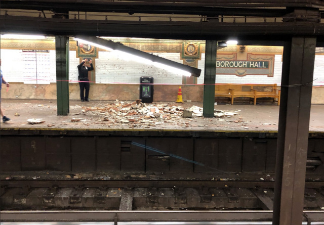 Ceiling Collapses At Borough Hall Subway Station