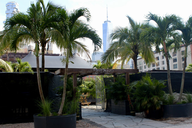 There's Now A Tropical Lounge With Palm Trees Over By The Holland Tunnel