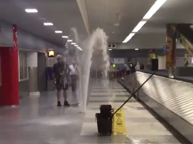 Video: A Geyser Bursts Forth Inside JFK Airport