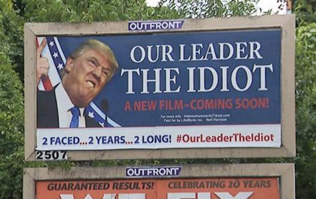 Billboard Calling Trump 'Our Leader The Idiot' Divides NJ Town For Some Reason