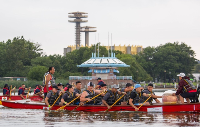 Photos: Dragon Boat Racers Churn The Water In Rainy Flushing Meadows