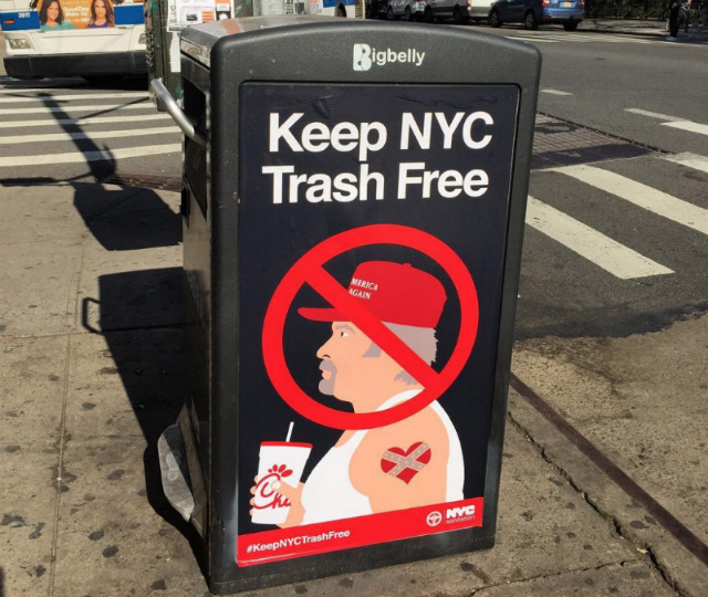 Fake Anti-MAGA Sanitation Posters Want To 'Keep NYC Trash Free'
