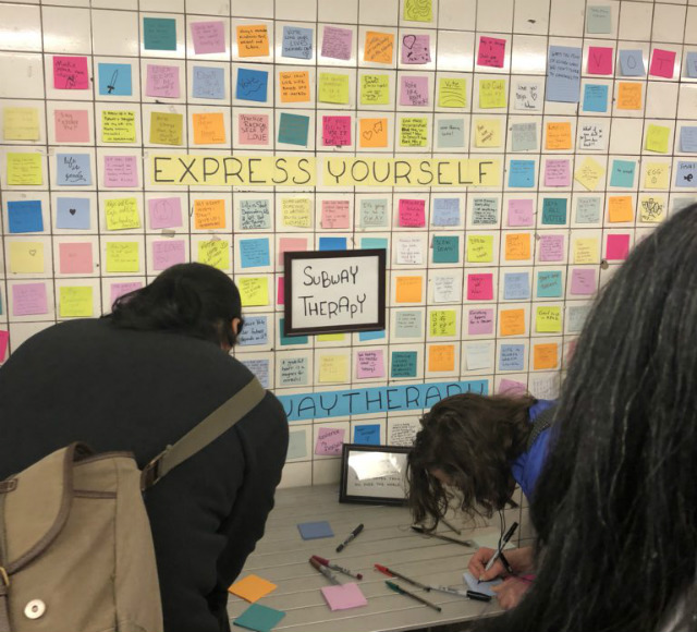 Subway Therapy Post-Its Return To 14th Street For The Midterms