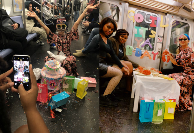You Sure Missed A Fun Birthday Party On The J Train With Lobsters & A Pinata