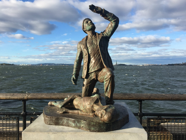 Tourists Fascinated By Fake Monument To New York Harbor UFO Abduction
