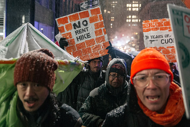 Photos: New Yorkers Hit The Snowy Streets To Demand Tougher Rent Laws