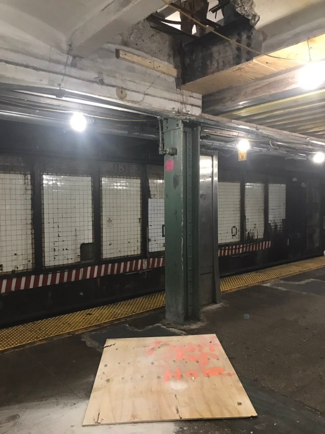 Big Plank Of Wood Falls From Ceiling At Bedford Ave L Stop, Narrowly Missing Woman