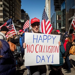 'No Collusion!': Trump Supporters Rally Outside Trump Tower As Attorney General Reviews Mueller Report