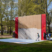 Just Opened: A Massive New Handball Court-Inspired Artwork In Cadman Plaza Park, Brooklyn!