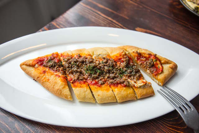 Tabletop Hibachis And Pizza Boats At Greek Party Spot 'Karvouna' On Bowery