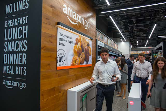 NYC's First Cashierless Amazon Go Store Opens With Soggy Sandwiches, 'Black Mirror' Surveillance Ceiling