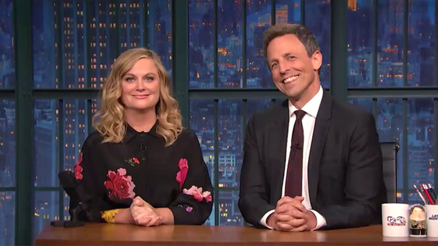 'Really?! With Seth & Amy': Meyers & Poehler Trash Trump/Caesar Protests On 'Late Night'