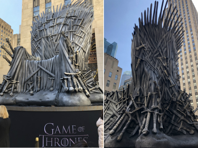 The front and back of the throne