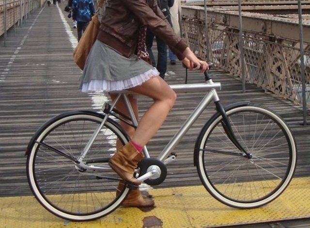 bicyclist in a skirt