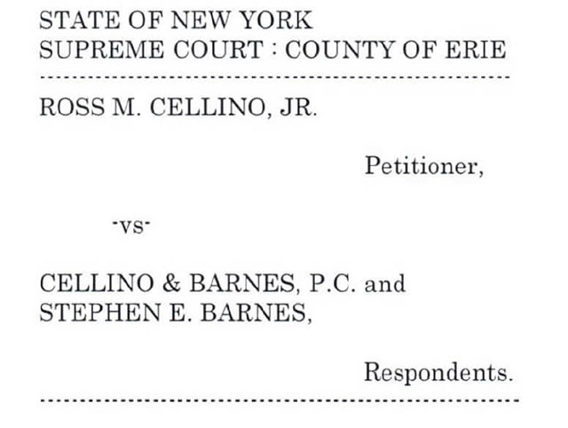 Lawsuit filed to dissolve Cellino & Barnes