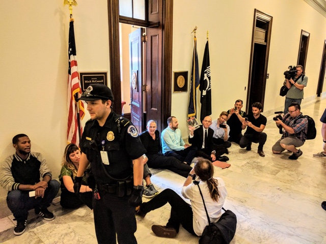 Councilman arrested after protesting outside Mitch McConnell's office