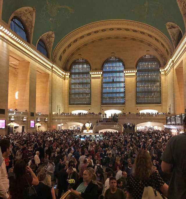 Grand Central crowd swells after Metro-North cancels service during storm