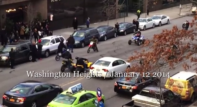 marauding motorcyclists go hog wild outside manhattan funeral home